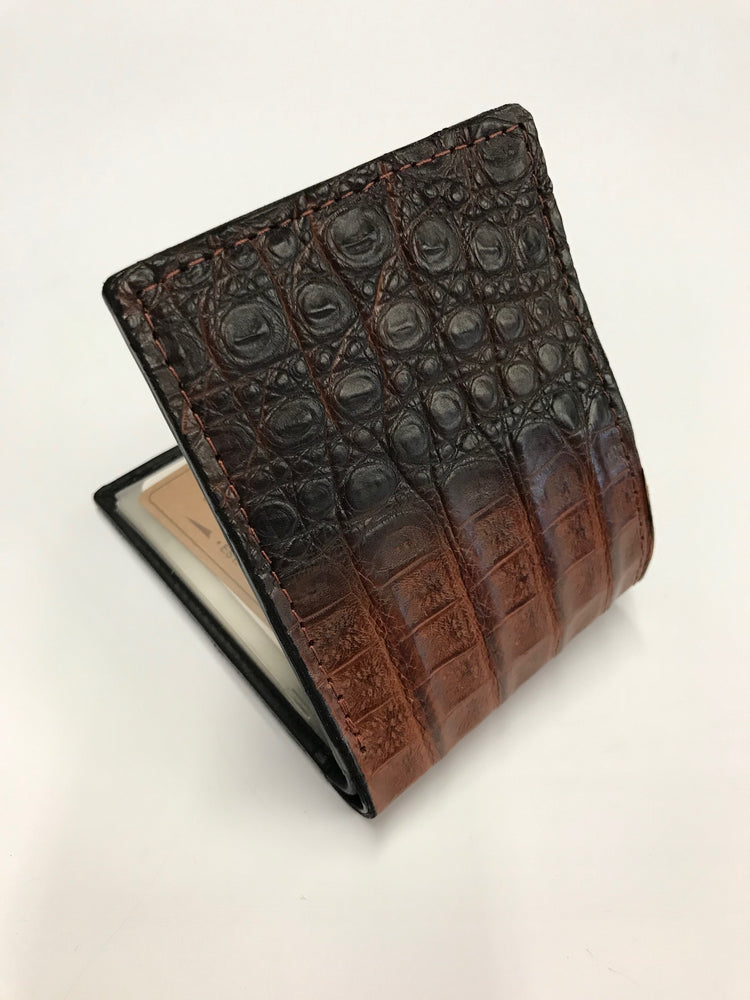 Men's Hombre Fade Brown Tan Caiman Gator Bi Fold Wallet