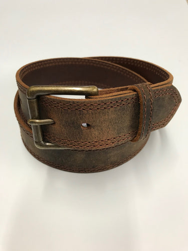 Men's Waxy Bomber Brown Leather Belt by Gingerich Leather