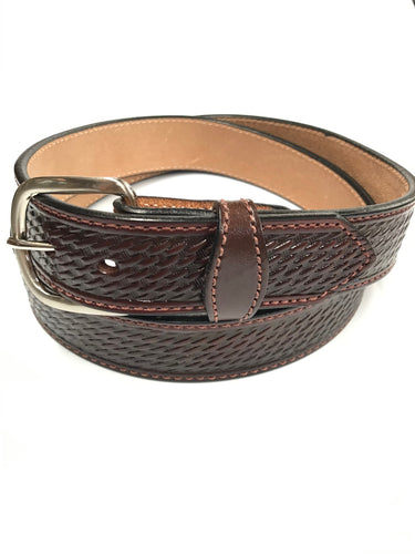 Gingerich Leather Brown Basket Stamp Belt