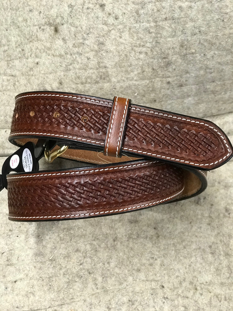 Visalia Basket Stamp Leather Belt Made in America