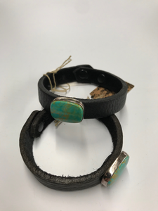Turquoise and Leather bracelet by Que Chula
