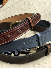 Load image into Gallery viewer, Visalia Waxed Blue Leather Belt Made in America