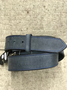 Visalia Waxed Blue Leather Belt Made in America