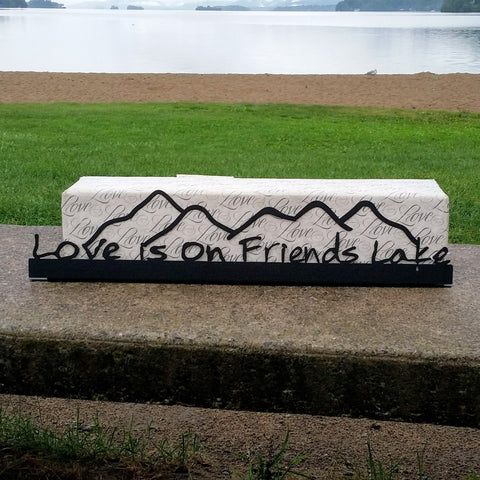 Friends Lake Metal Sign with Mountains