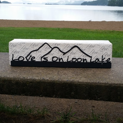 Loon Lake Painted Metal Sign with Mountains