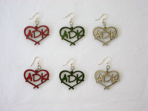 Love is in the Adirondacks Wood Earrings