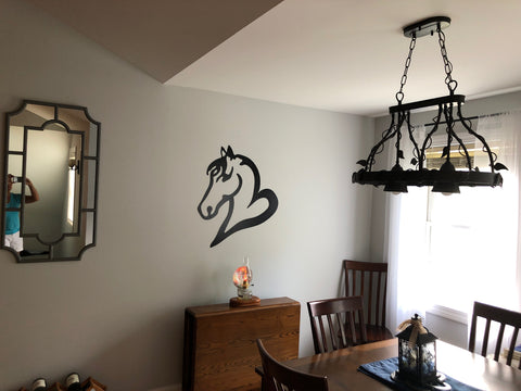 Large Custom Horse Head & Heart Metal Wall Decor