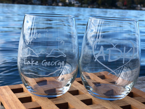 Lake George Stemless Wine Glass