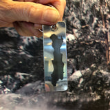 Silhouette of Friends Lake on a stainless steel key chain.