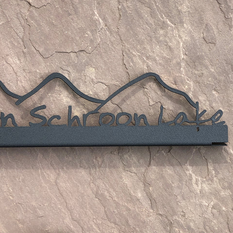 Schroon Lake Metal Sign with Mountains
