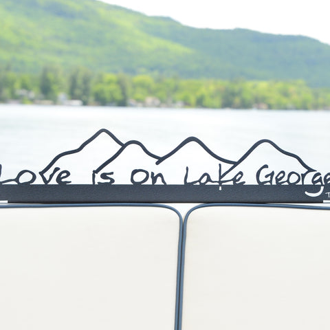 Lake George Painted Sign (shelf sitter)  with Mountains