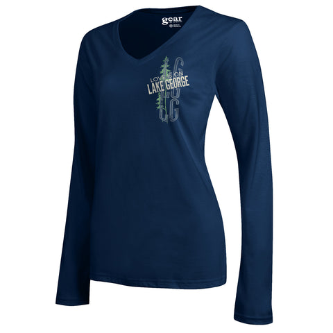 Lake George Ladies Long Sleeve V-Neck Tee