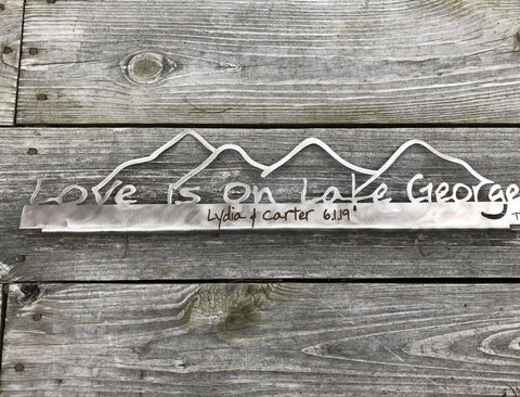 Lake George Metal Sign Stainless Shelf-Sitter with Mountains