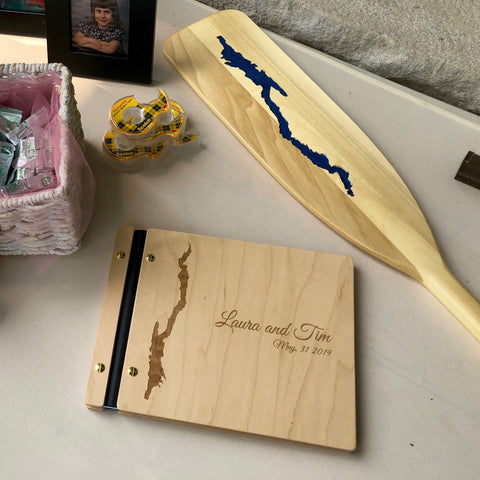 Custom Handcrafted Wood Lake George Guest Book
