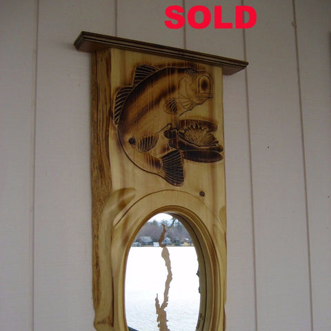 Lake George Mirror with handcrafted Fish Frame