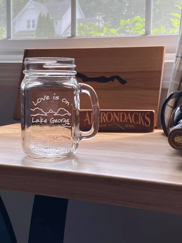 Love is on Lake George Handled Mason Jar