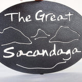 Text The Great Sacandaga with the outline of the lake and surrounding Adirondack mountains
