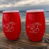 Red plastic 15 oz tumbler with a jockey riding a horse; clear lid with a red closure tab.  2-Pak