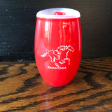 Red plastic 15 oz tumbler with a jockey riding a horse; clear lid with a red closure tab.