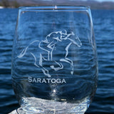 Jockey riding a horse with the text Saratoga on a  Stemless wine glass.
