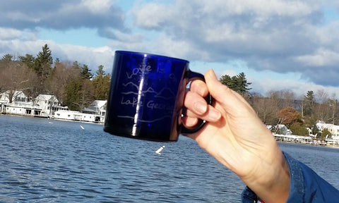 Love is on Lake George Blue Glass Coffee Mug