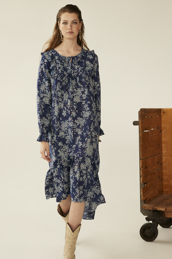 Evelyn Dress, Navy Meadow