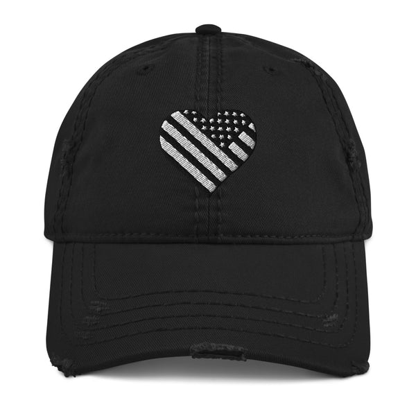 American Flag in Heart Distressed Hat - Mission Market