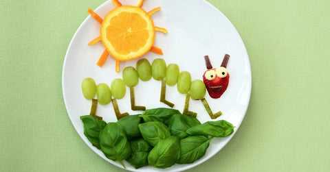 Orange, grape, strawberry and spinach caterpillar