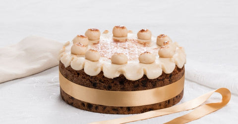 A decorated Simnel cake with the 11 marzipan disciples