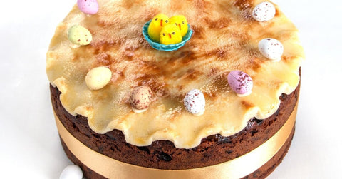 A chocolate decorated Simnel cake