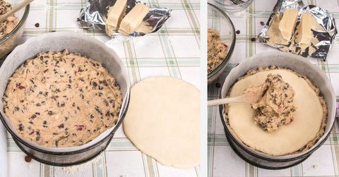 Stages of layering the cake batter and rolled out marzipan