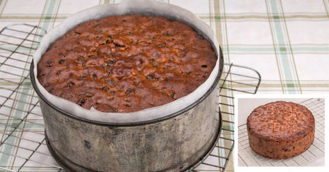 A baked Simnel Cake before decoration