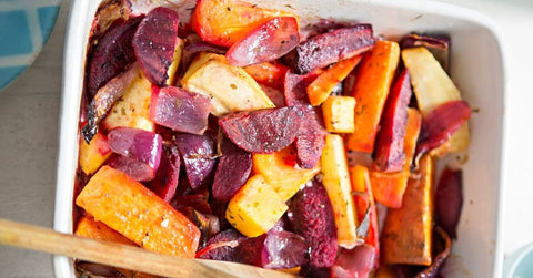 Bright, colourful and earthy carrots and beetroot ready for roasting