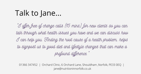 How to contact Jane Rose-Land, Nutrition in Norfolk, 01366 347452  |  Orchard Clinic, 6 Orchard Lane, Shouldham ,Norfolk, PE33 0EQ  |  jane@nutritioninnorfolk.co.uk