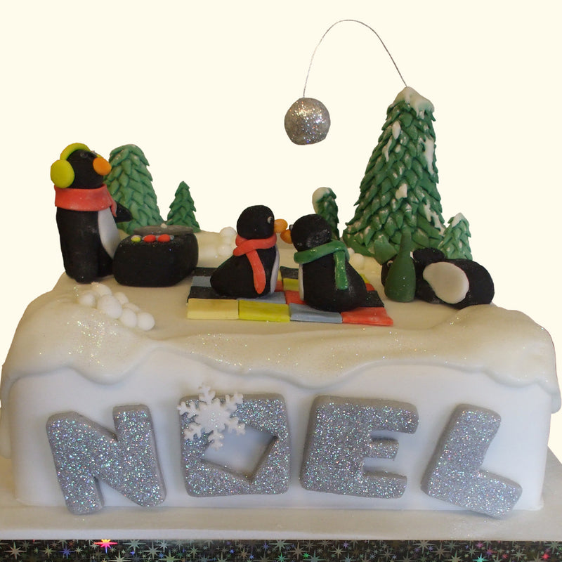 Disco Dancing Penguins Christmas Cake
