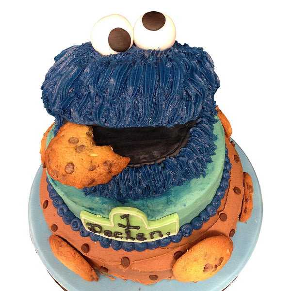 Sesame Street Cookie Monster Style Birthday Cake