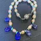 Fresh Water Pearl, Lapis Lazuli & Turquoise Necklace