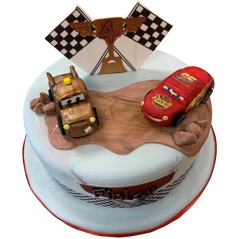 Lightening McQueen & Mater Style Birthday Cake