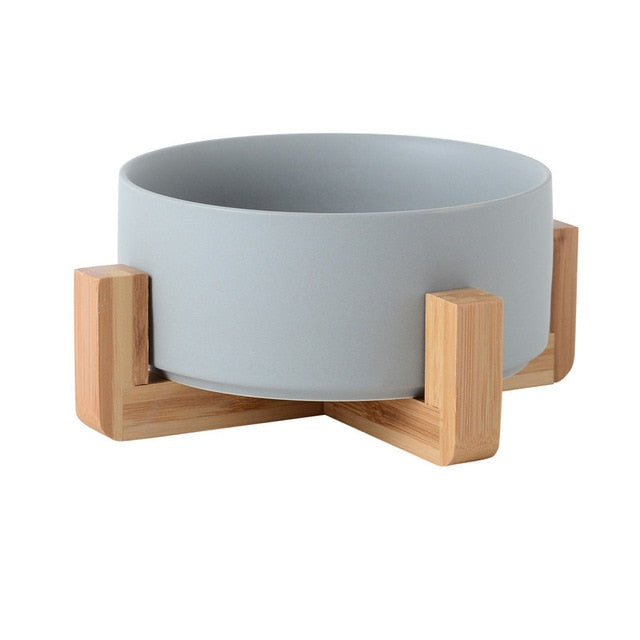 Modern Ceramic Pet Bowl With Bamboo Frame