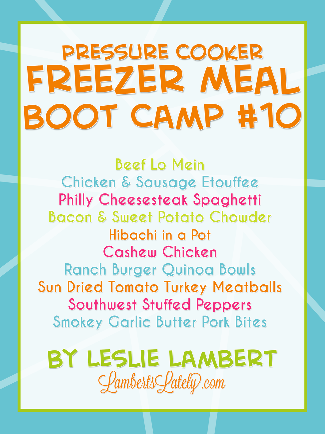 Pressure Cooker Freezer Meal Boot Camp #10