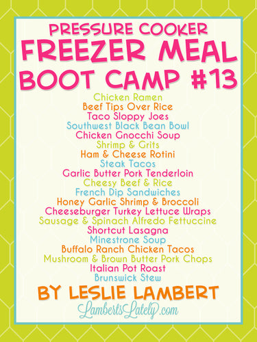 Pressure Cooker Freezer Meal Boot Camp #13