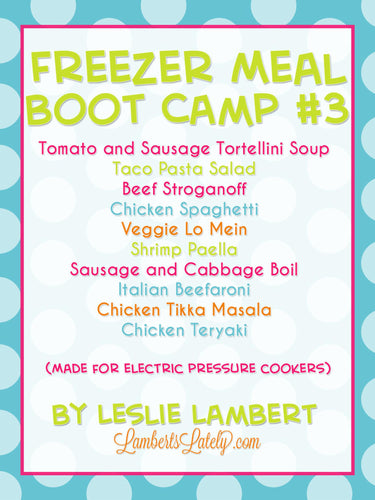 Pressure Cooker Freezer Meal Boot Camp #3