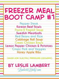 Pressure Cooker Freezer Meal Boot Camp #1