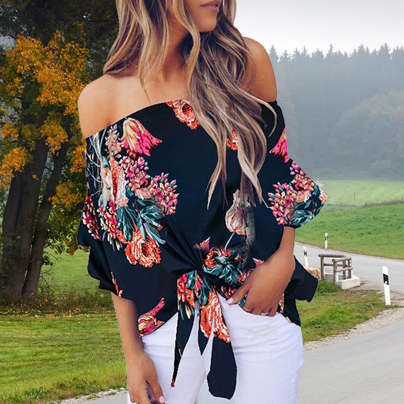 Off Shoulder Shirt Sheer Chiffon Blouse - SDK Creations