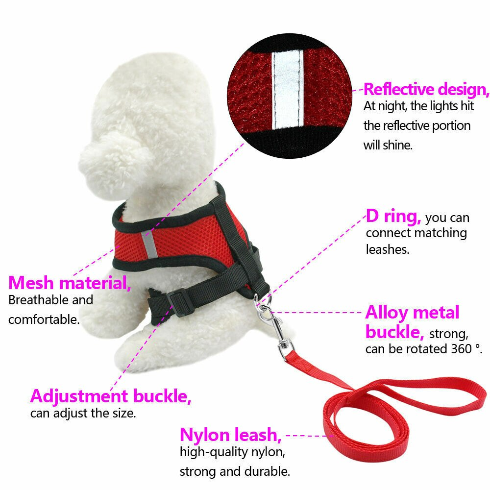 1Set Breathable Dog Leash Pet Harness Puppy Cat