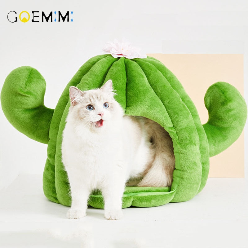 Pet Cat Nest cactus Shape Dog Bed Warm Small for Cats Dogs  Cat Sleeping Cave Mats Winter Pet Products