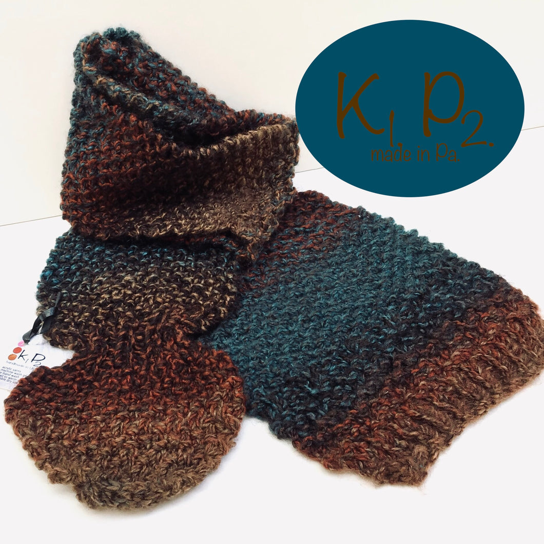 k1p2   brown - turquoise hats /scarves