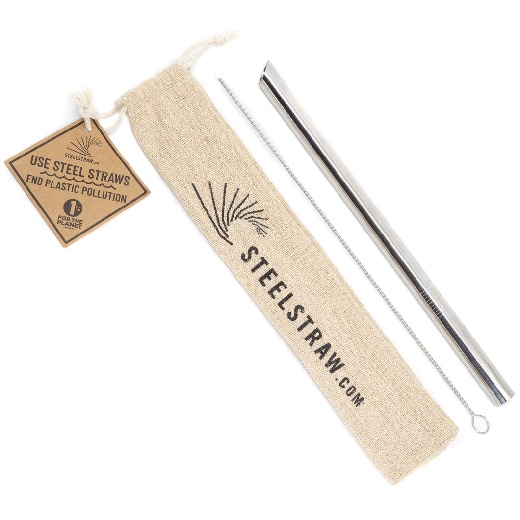 2 REUSABLE steel straw gift sets