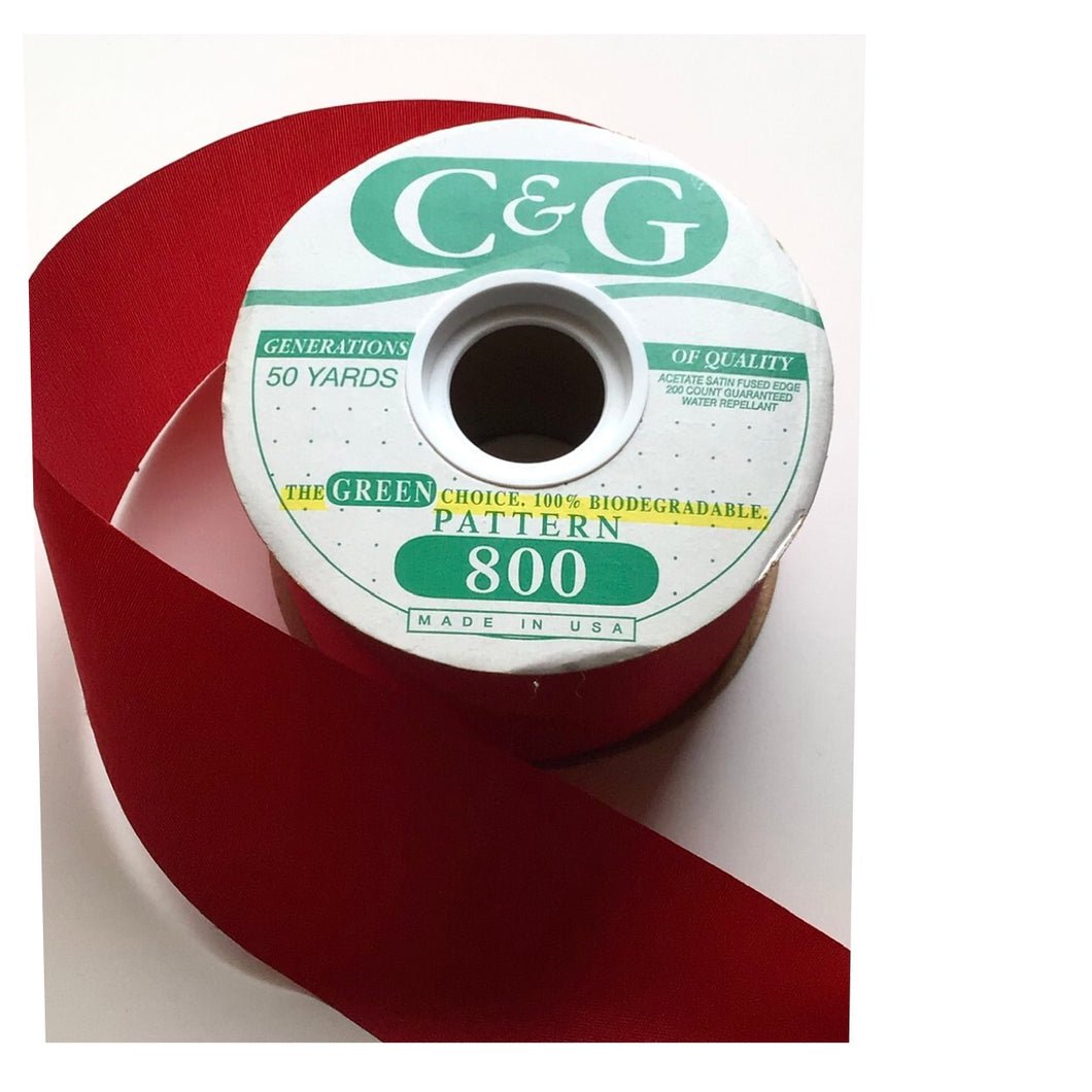 RIBBON RED SATIN C&G
