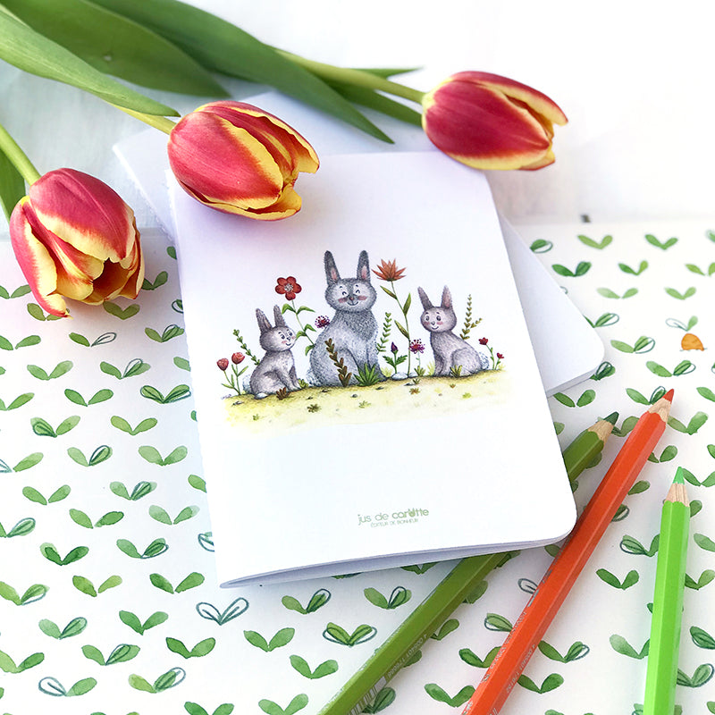 Carnet de notes . Lapins de printemps